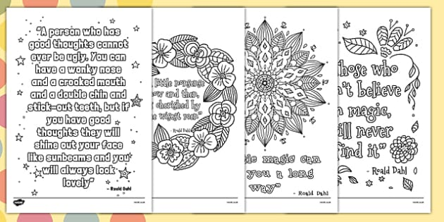 Roald Dahl Quotes Mindfulness Colouring