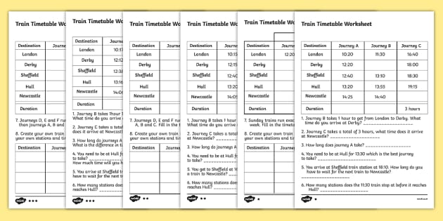 Train Timetable Worksheets for KS2 - Differentiated Pack