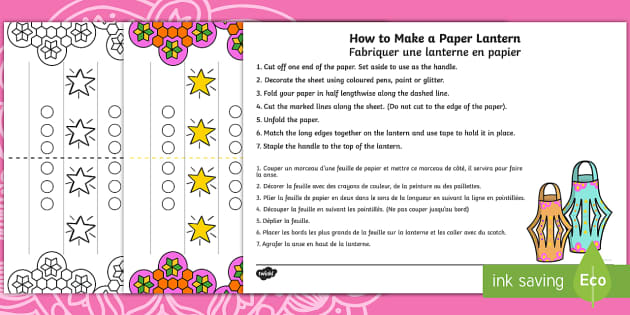 Diwali Paper Lantern Craft English/French - Diwali Paper