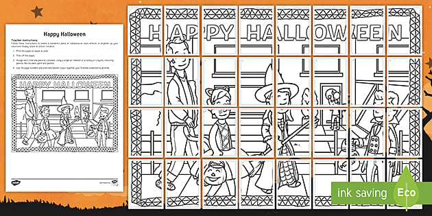 * NEW * Halloween Collaborative Colouring Pages
