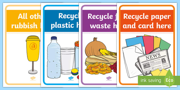This is a graphic of Printable Recycling Signs in biodegradable