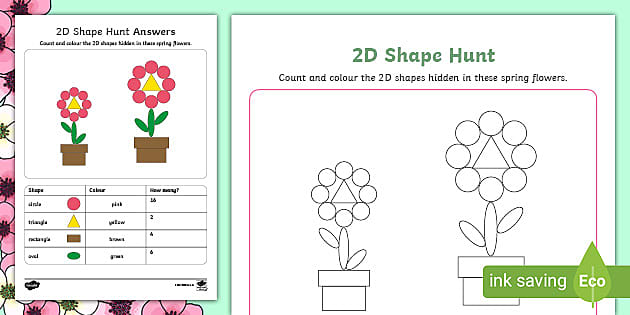 Spring-Themed 2D Shapes Count And Colour Worksheet