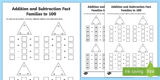 fact families to 100 addition and subtraction worksheet. Black Bedroom Furniture Sets. Home Design Ideas