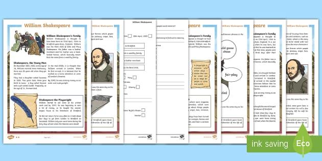 KS2 William Shakespeare Reading Prehension Activity KS2