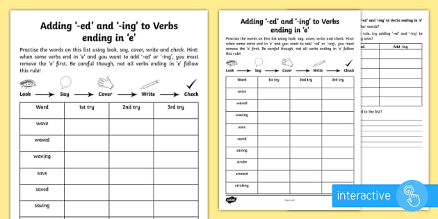 Year 2 Spelling Practice Adding -ed and -ing to Verbs Ending in 'e'  Worksheet