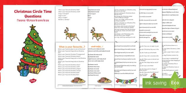 100 Christmas Circle Time Questions Booklet English Hindi Christmas