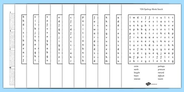 year 3 4 statutory spelling list wordsearch pack wordsearch