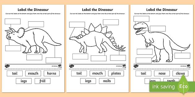 label the dinosaur worksheet primary resources. Black Bedroom Furniture Sets. Home Design Ideas