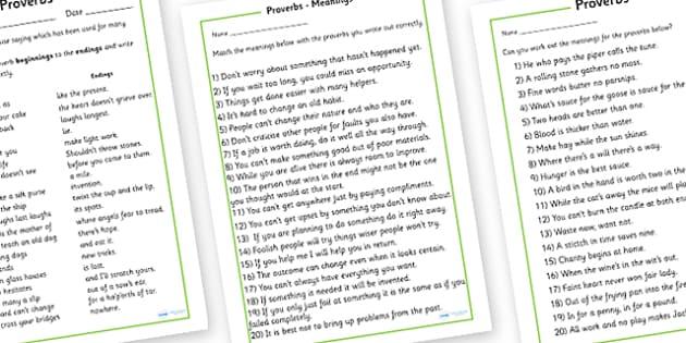 Proverb Worksheet - proverb worksheet, proverb, English
