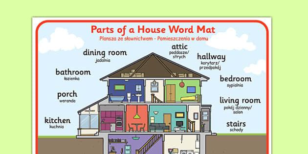 Parts of a house word mat polish translation polish part for Maison translation