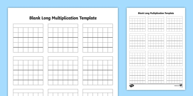 blank long multiplication template