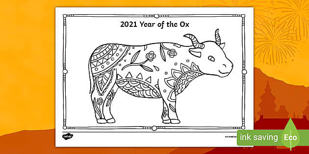 Free Year Of The Ox Chinese New Year Mindfulness Colouring Page