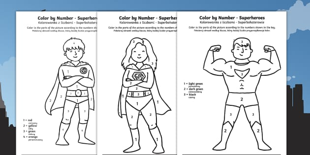 Superheroes Colour by Number English/Polish - colour ...