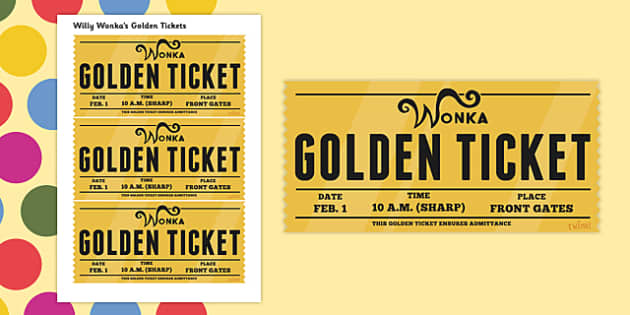 Role Play Golden Tickets To Support Teaching On Willy Wonkas Chocolate