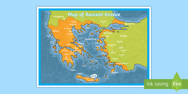 New Map Of Ancient Greece Display Poster History Ancient Greece