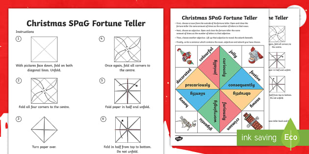 Christmas spag fortune teller template chatterbox paper for How to make a chatterbox template