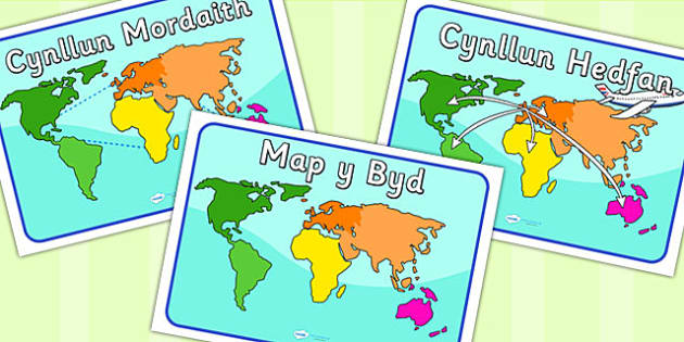 World Map Posters Welsh Translation Roleplay EAL Languages - World map in welsh language