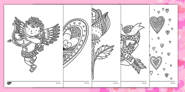 Valentines Day Mindfulness Colouring Sheets  valentines day