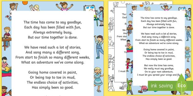 Nursery Teacher Leaving Poem - End of Year, Poetry, Goodbye
