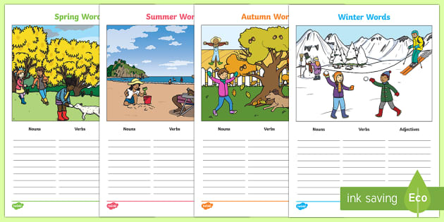 Seasons-Themed Verb Adjective Noun Picture Activity Sheets
