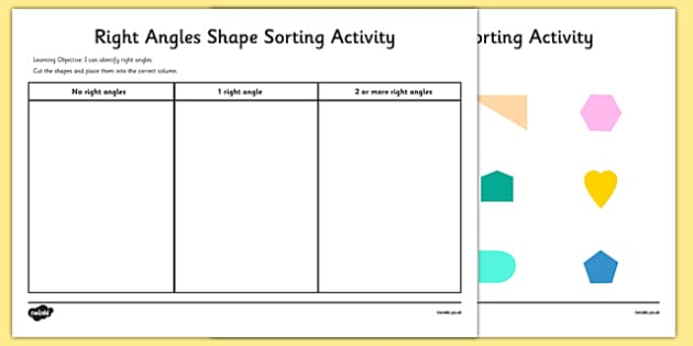 Right Angle Shapes : Right angles shape sorting activity