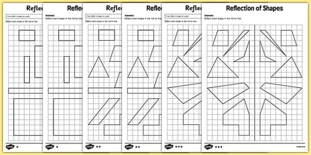 Reflection of Shapes Maths Worksheet Pack teacher made