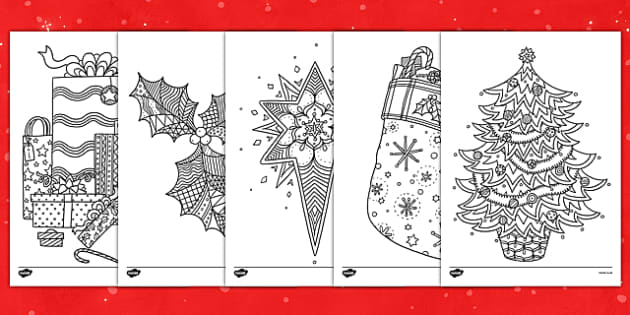 Christmas Themed Mindfulness Colouring Sheets - colouring, pd