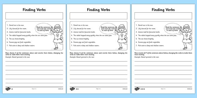 Finding Verbs Worksheet (teacher Made)