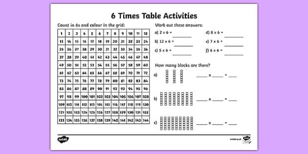 6 times tables ks2 worksheet activity primary resources. Black Bedroom Furniture Sets. Home Design Ideas