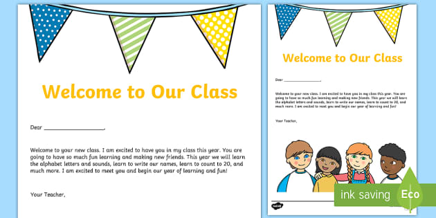 Welcome To Our Class Editable Letter