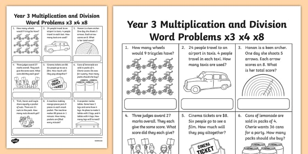Grade 3 Multiplication and Division Word Problems x3 x4 x8 ...