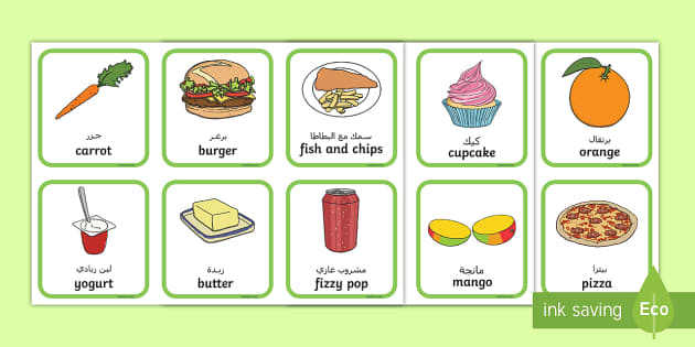 Food And Drink: Healthy And Unhealthy Sorting Activity Arabic/English