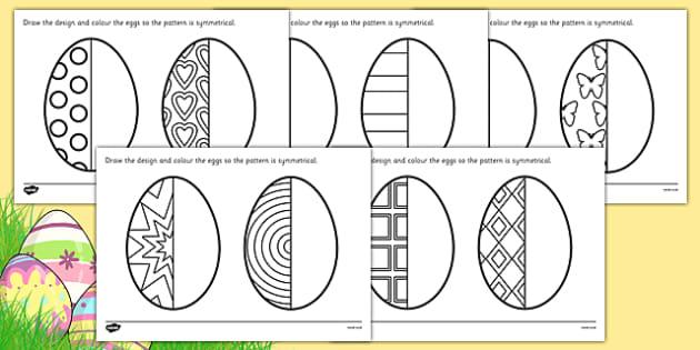 KS2 Easter Egg Symmetry Worksheets (teacher made)