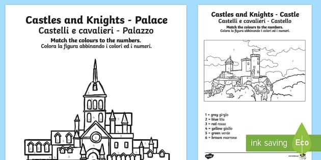 castles and knights colour by numbers englishitalian castles - Castles Pictures To Colour
