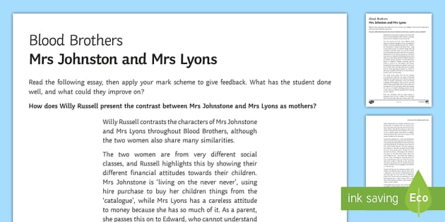 blood brothers mrs johnstone and mrs lyons essay writing sample