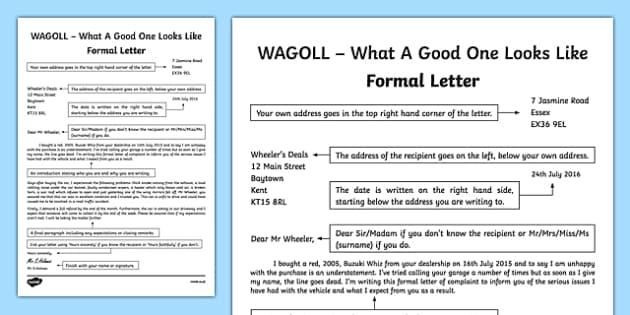 Save For Later; WAGOLL Formal Letter Writing Sample