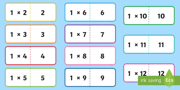1 Times Table Folding Cards