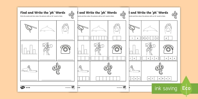 Find and Write the ph Words Differentiated Worksheets