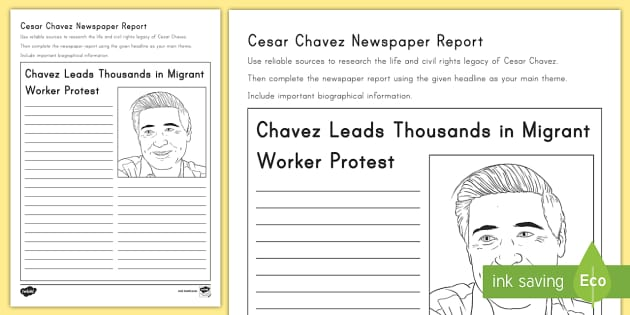 Cesar chavez newspaper report writing worksheet activity sheet cesar