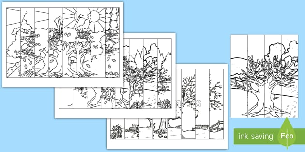 The Seasons Tree Agamographs Colouring Pages