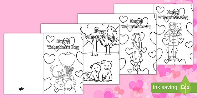Valentine's Day Coloring Cards - Valentine Heart Fine Motor