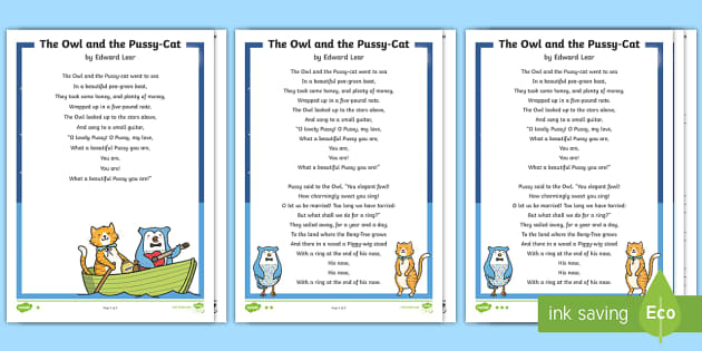 Ks1 The Owl And The Pussy-Cat Poem Differentiated Reading -5581