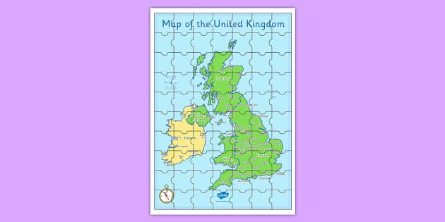 Large UK Map Jigsaw Puzzle - Large UK Map Jigsaw Puzzle - large, uk, map