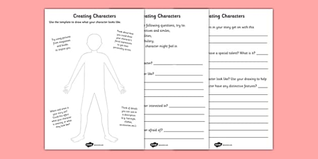 Creating a Character Worksheets creating a character – Character Development Worksheets