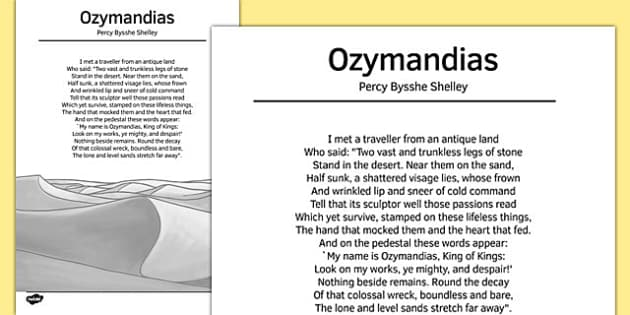 percy bysshe shelley literary analysis The discovery of ozymandias, a statue of egyptian pharaoh ramses ii, inspired this poem by percy bysshe shelley activities include tp-castt, themes, & literary.
