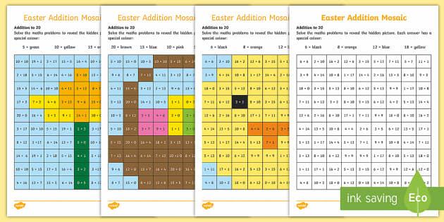 Easter Themed Addition Mosaic Worksheet / Worksheets