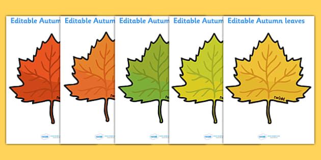 Editable Autumn Leaves Templates - Display, editable, label
