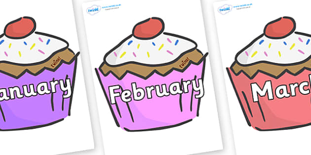 Free Months Of The Year On Cupcakes Months Of The