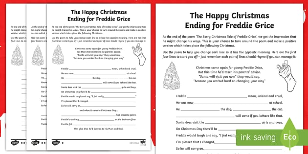 Ks2 The Happy Christmas Ending For Freddie Grice Poetry Writing