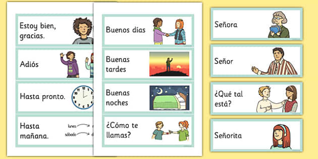 Basic phrases greetings primary resources spanish greetings flashcards spanish m4hsunfo